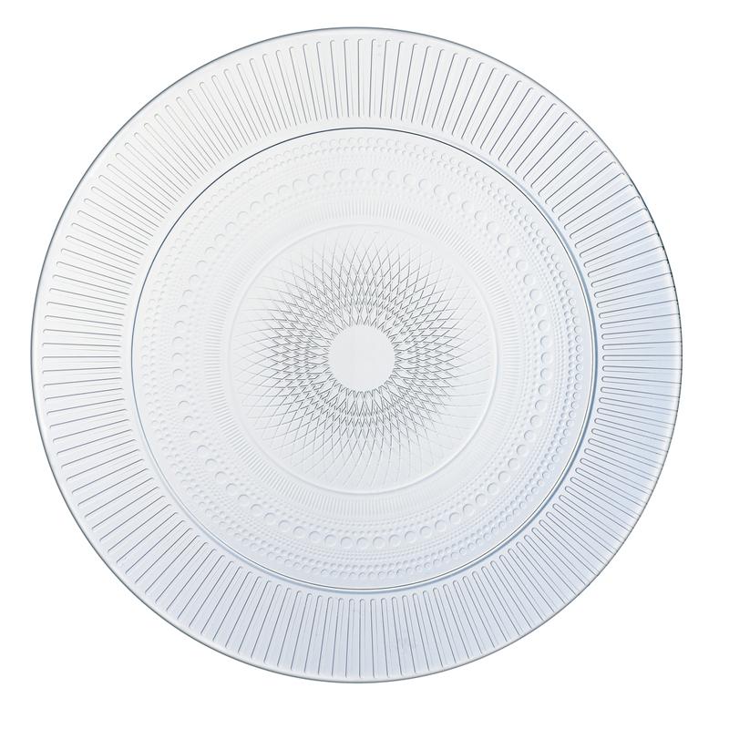Assiette plate en verre transparent D27cm