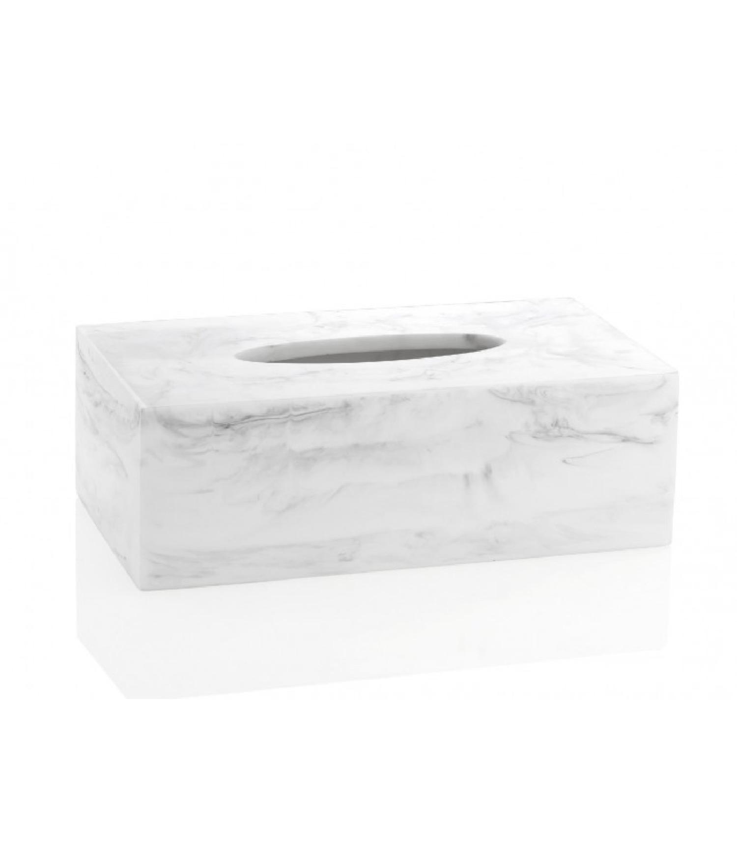 Boîte à mouchoirs en résine blanche