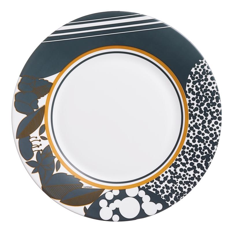 Assiette plate bleue et or D28cm