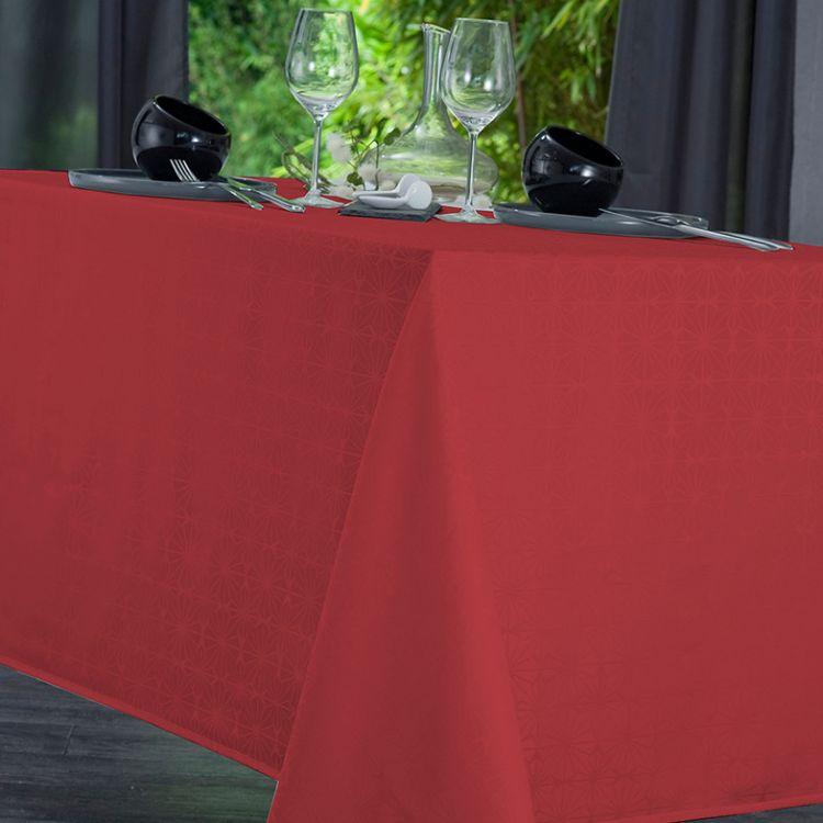 Nappe unie en polyester rouge 160x160