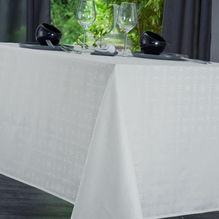 Nappe unie en polyester beige 160x350