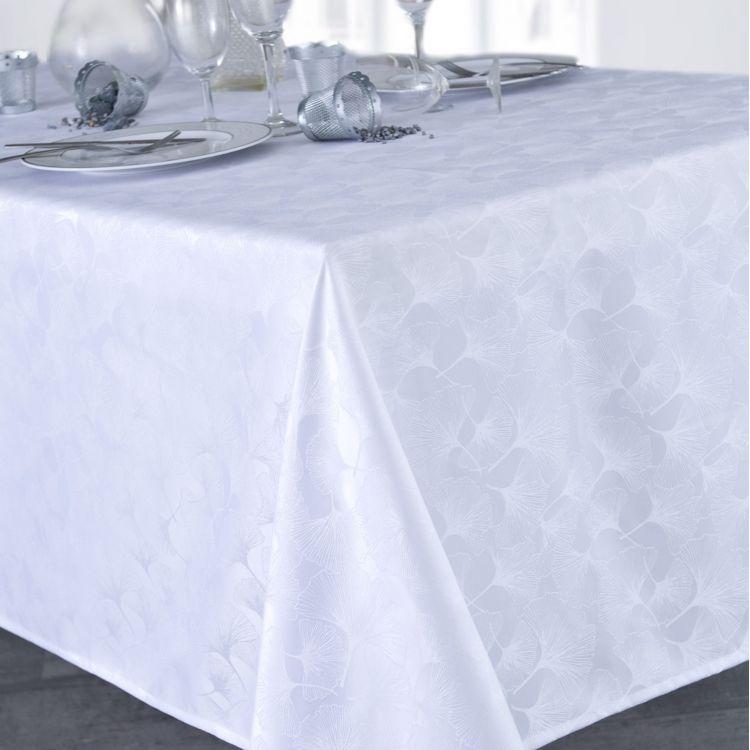 Nappe unie en polyester blanc 160x160