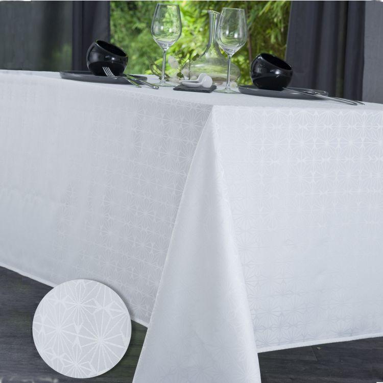 Nappe unie en polyester blanc 160x250