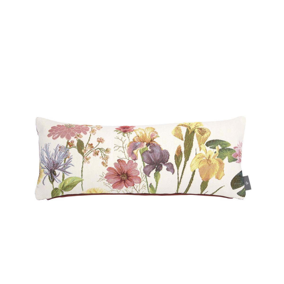 Coussin tapisserie giverny made in france blanc 25x60
