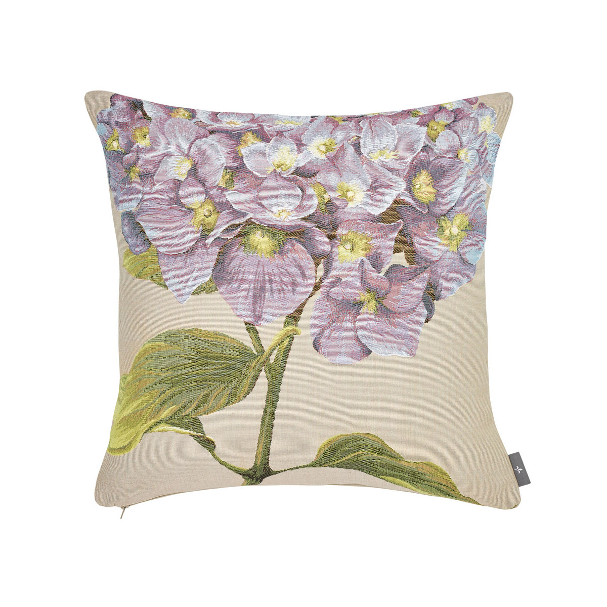Coussin tapisserie hortensias made in france beige   50x50