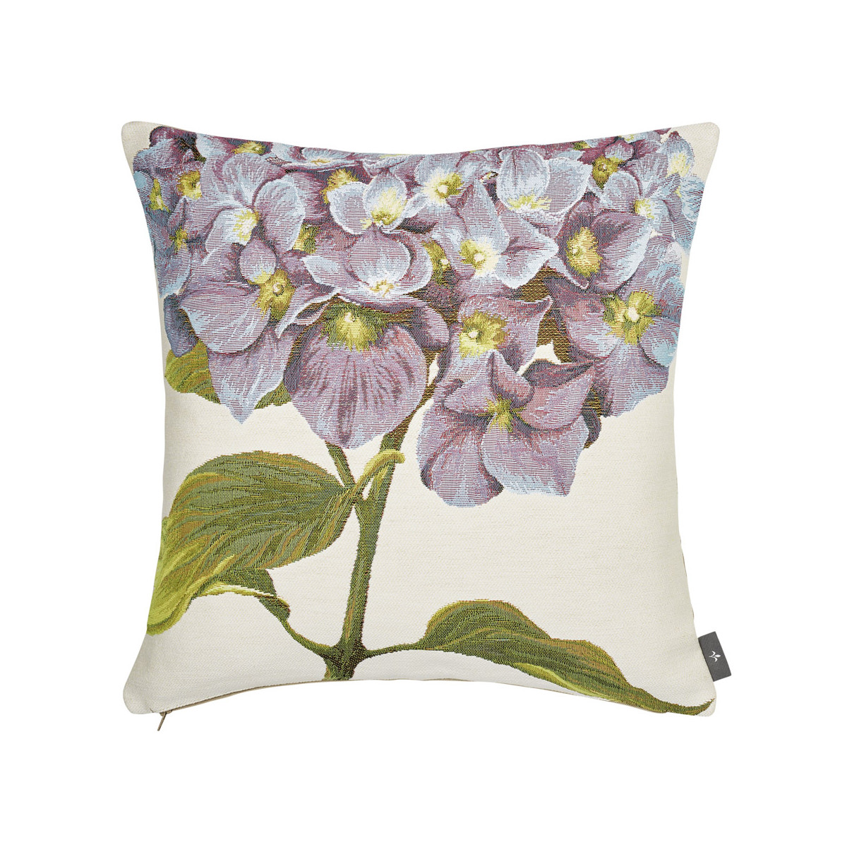 Coussin tapisserie hortensias made in france blanc   50x50