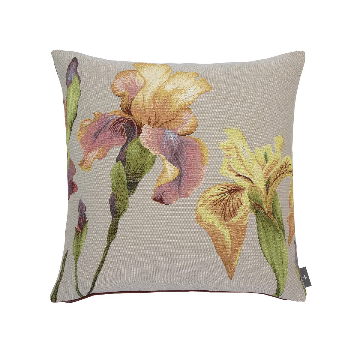 Coussin tapisserie giverny iris made in france gris   50x50