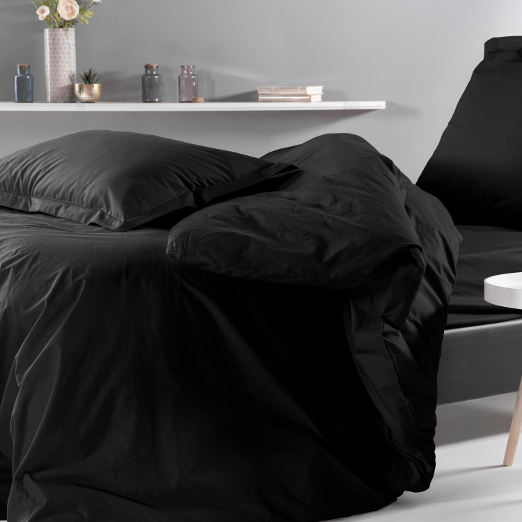Drap plat uni en percale noir 180x290