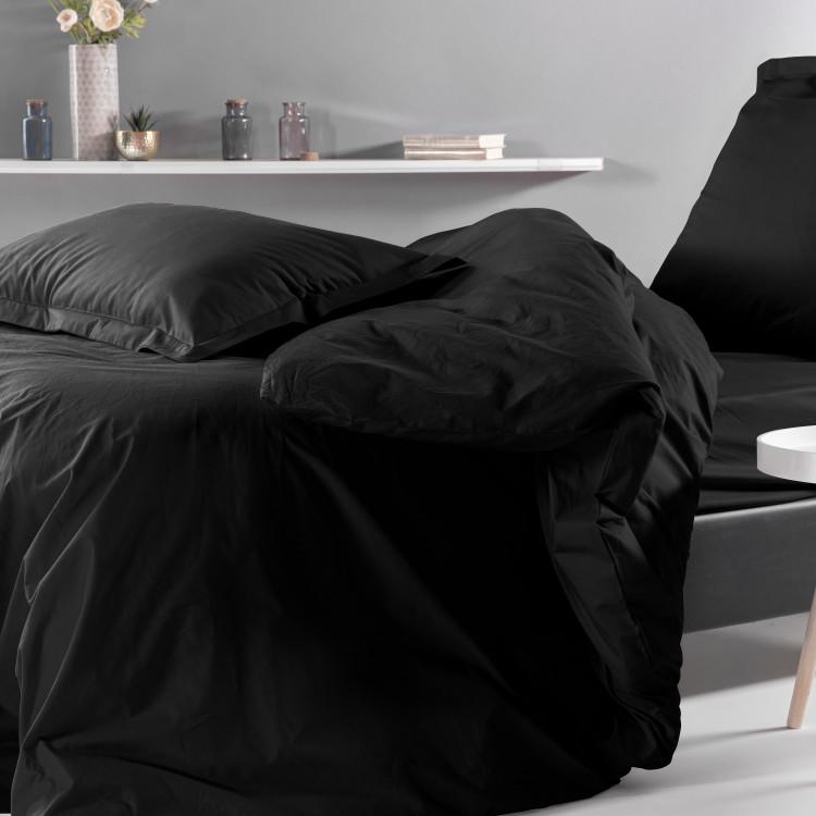Drap plat uni en percale noir 270x300