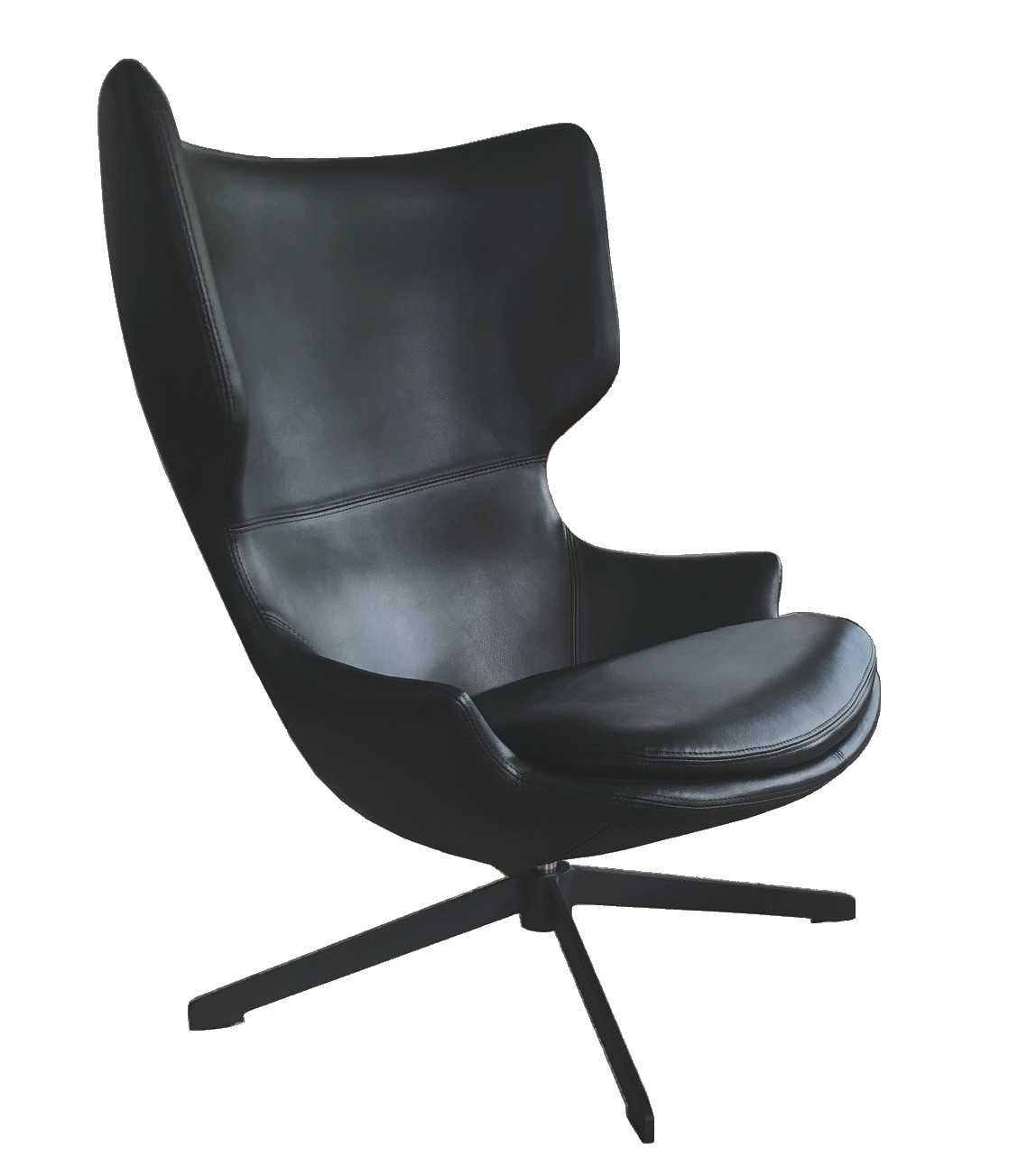 Fauteuil rotatif aspect cuir noir