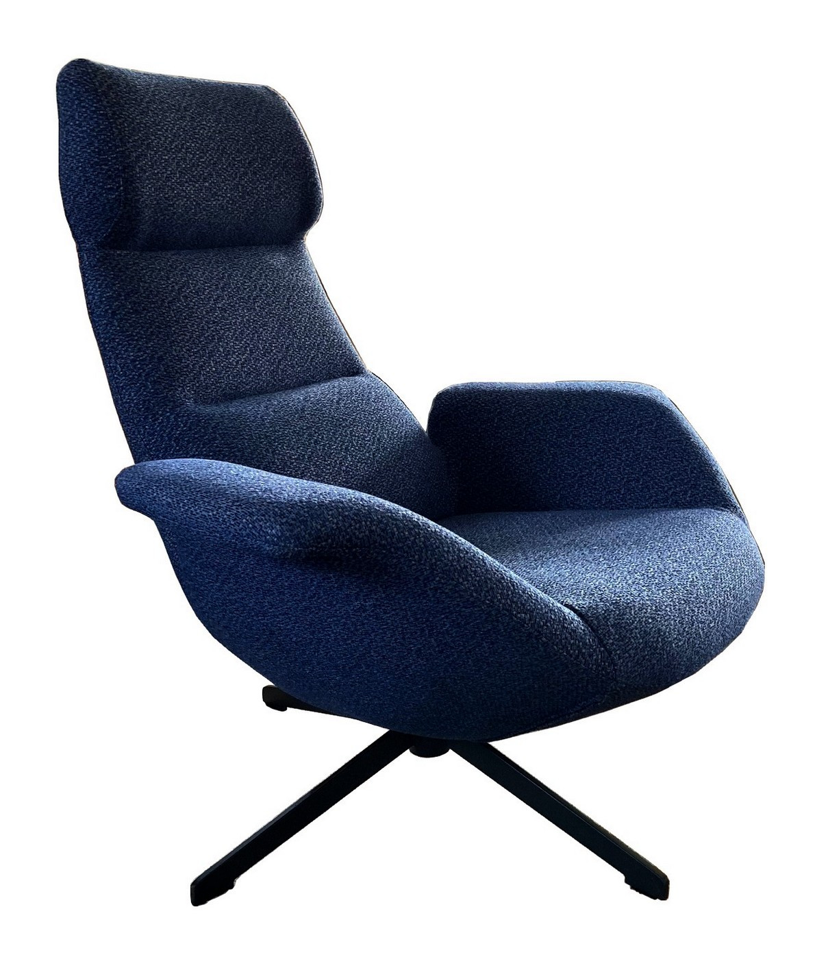 Fauteuil confortable en tissu bleu