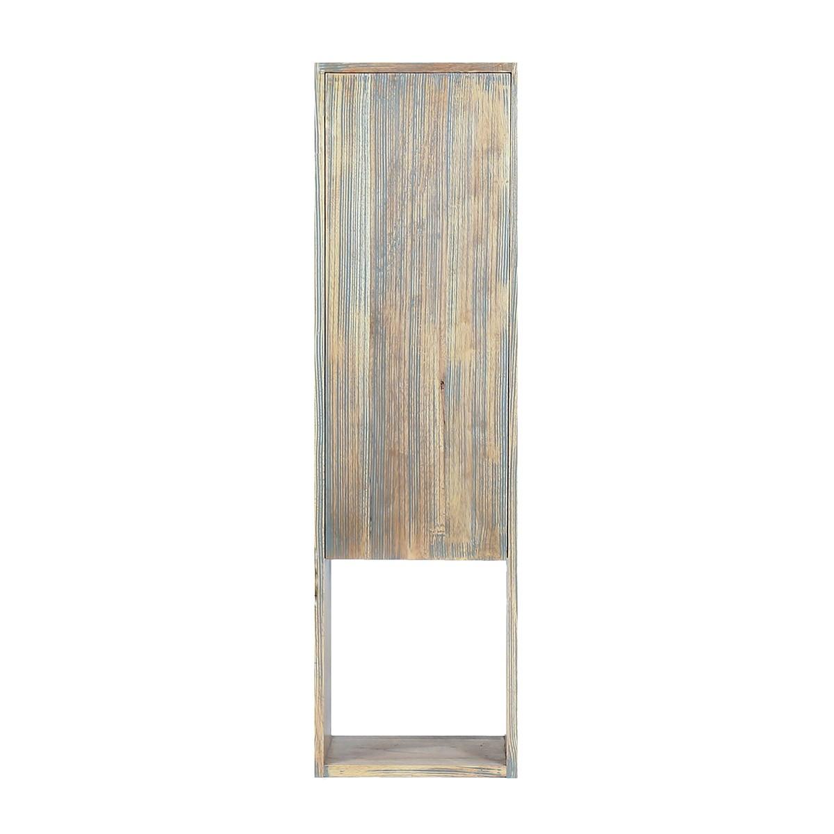 Colonne de salle de bain en bois d'hévéa suspendue H 120 cm
