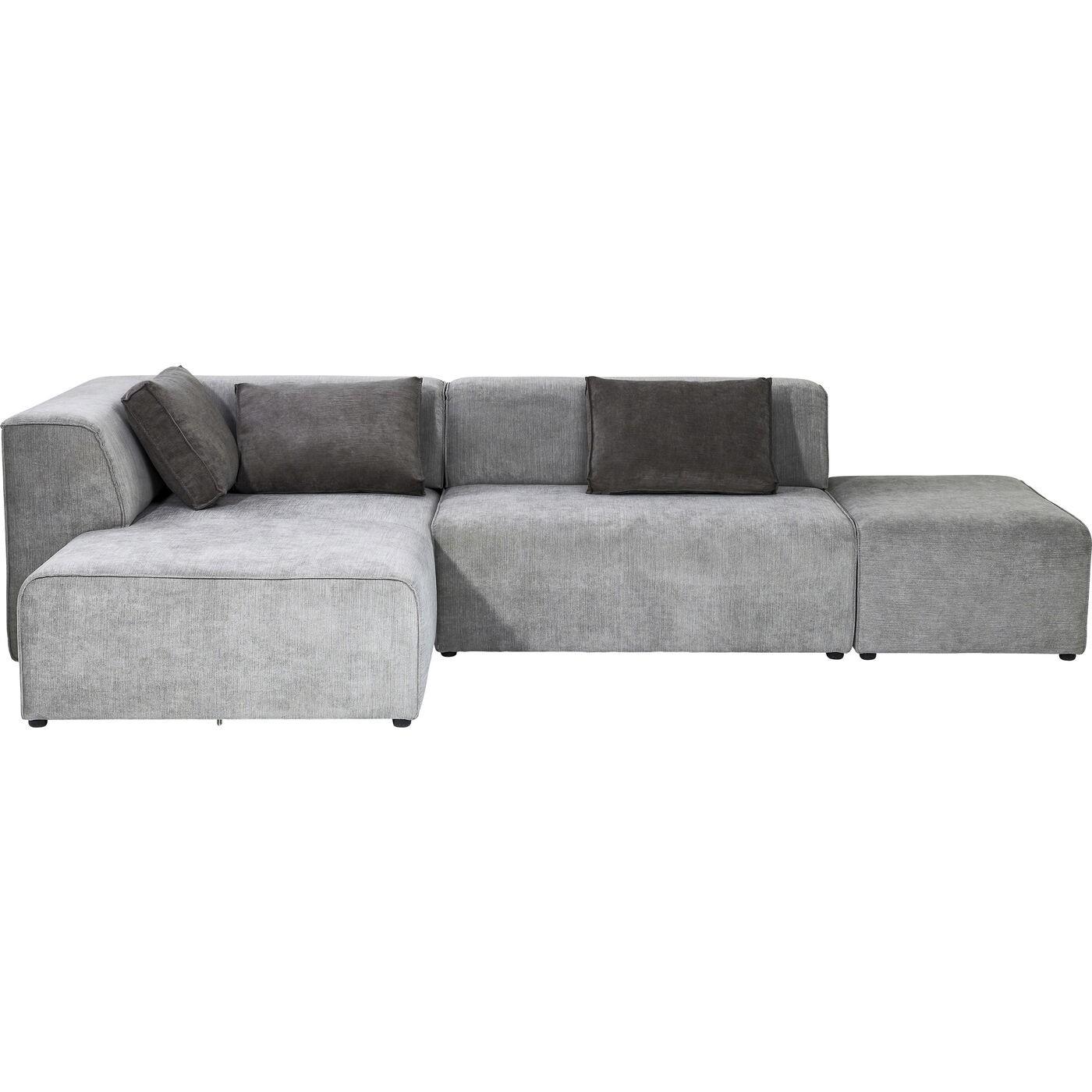 Canapé d'angle gauche 4 places en tissu gris
