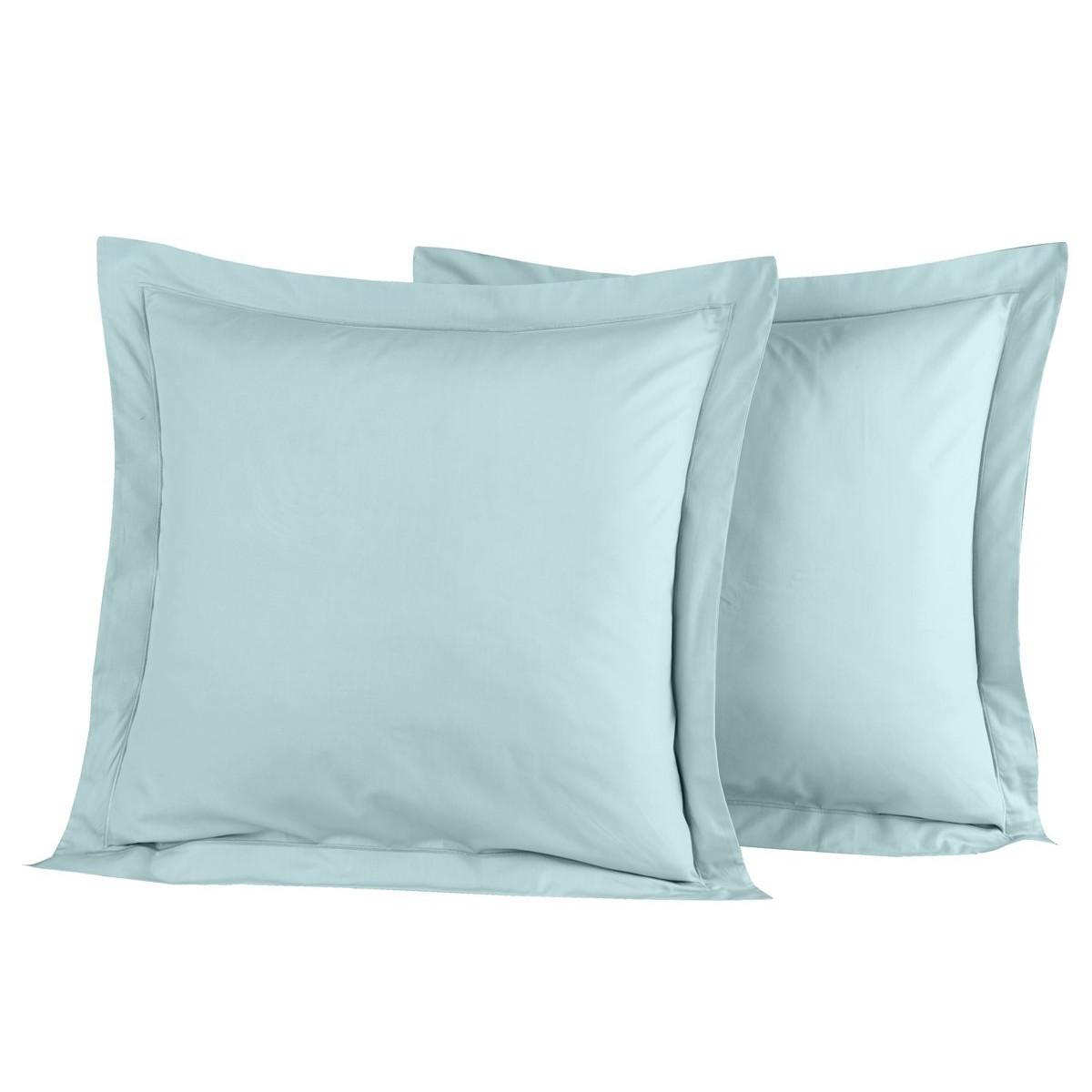 Lot de 2 taies d'oreiller en percal Bleu Arctic 65x65 cm