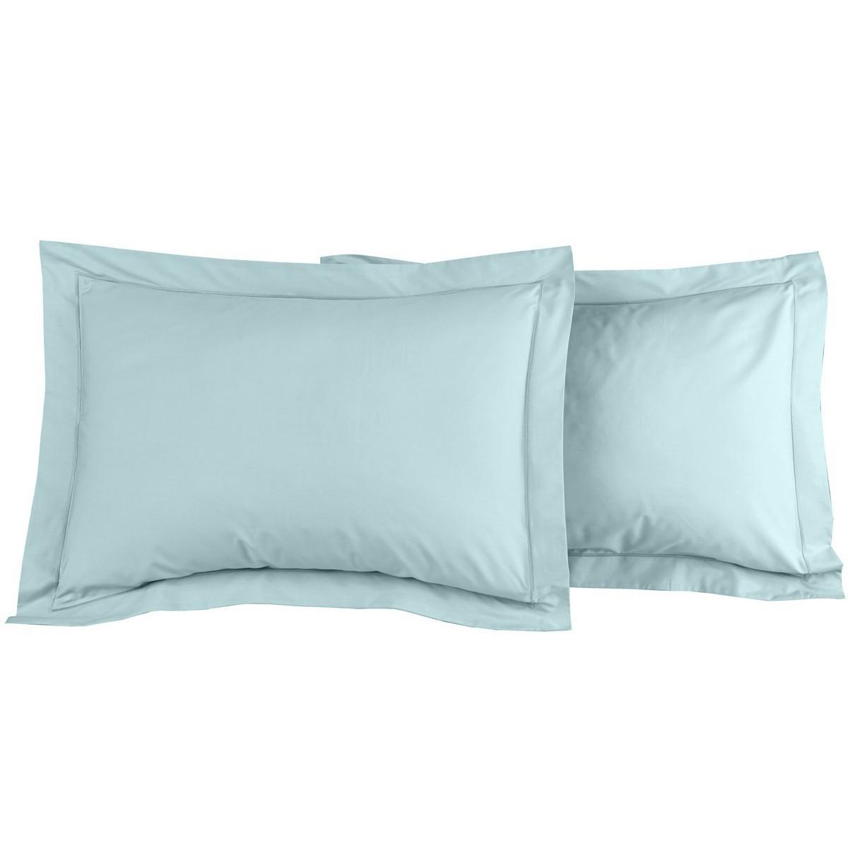 Lot de 2 taies d'oreiller en percal Bleu Arctic 50x70 cm