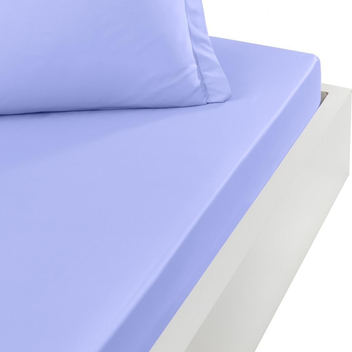 Drap housse en percale de coton bon Azur 160x200 cm