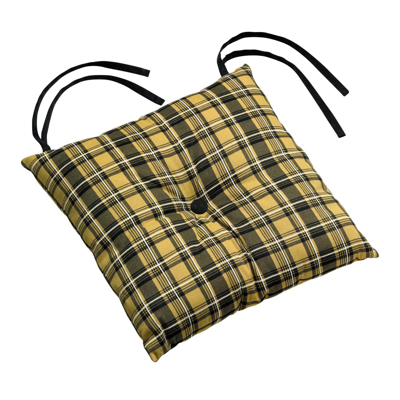 Galette de chaise  1 bouton en coton gold 38 x 38 x 3