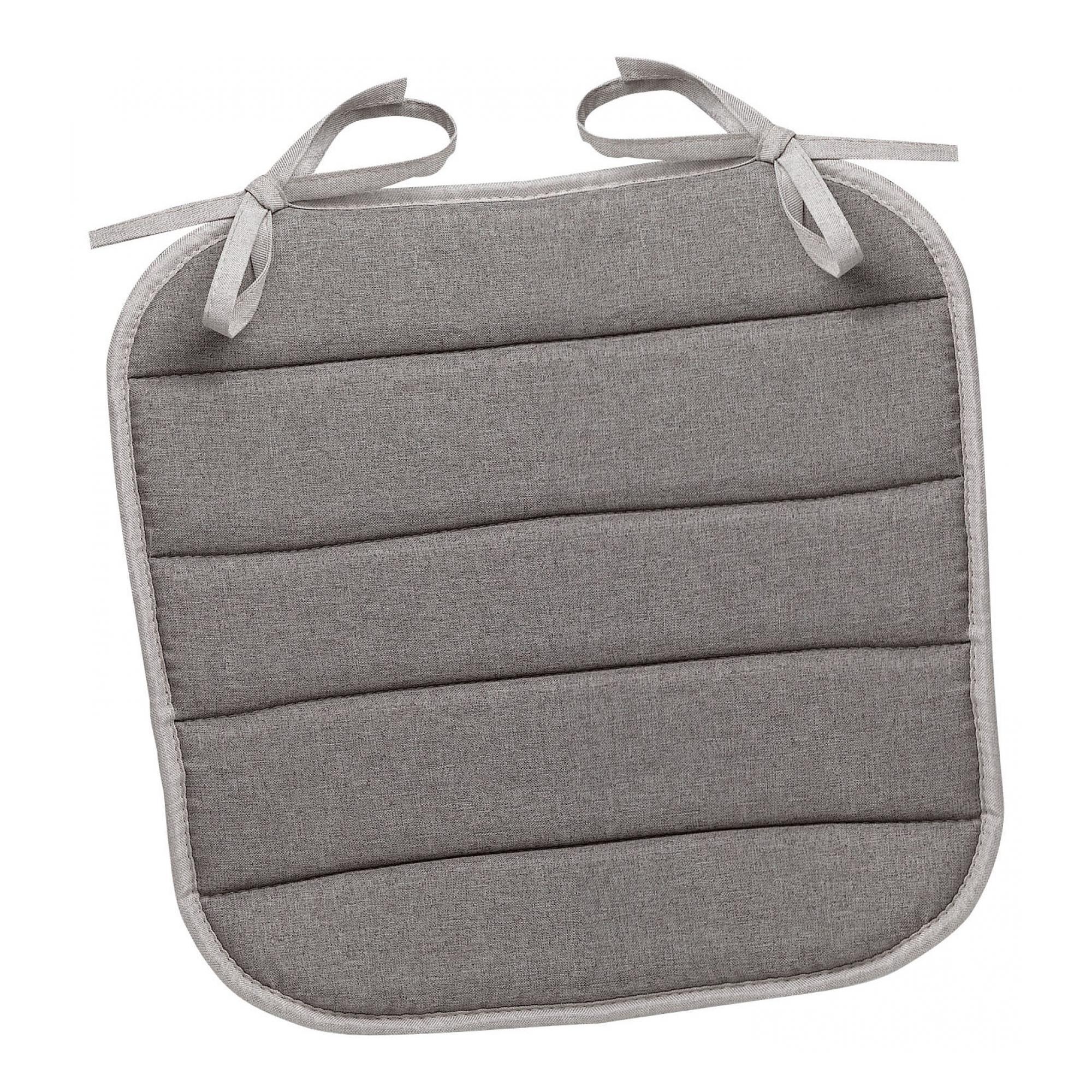 Galette de chaise plate Chinée en polyester gris 37 x 37 x 1