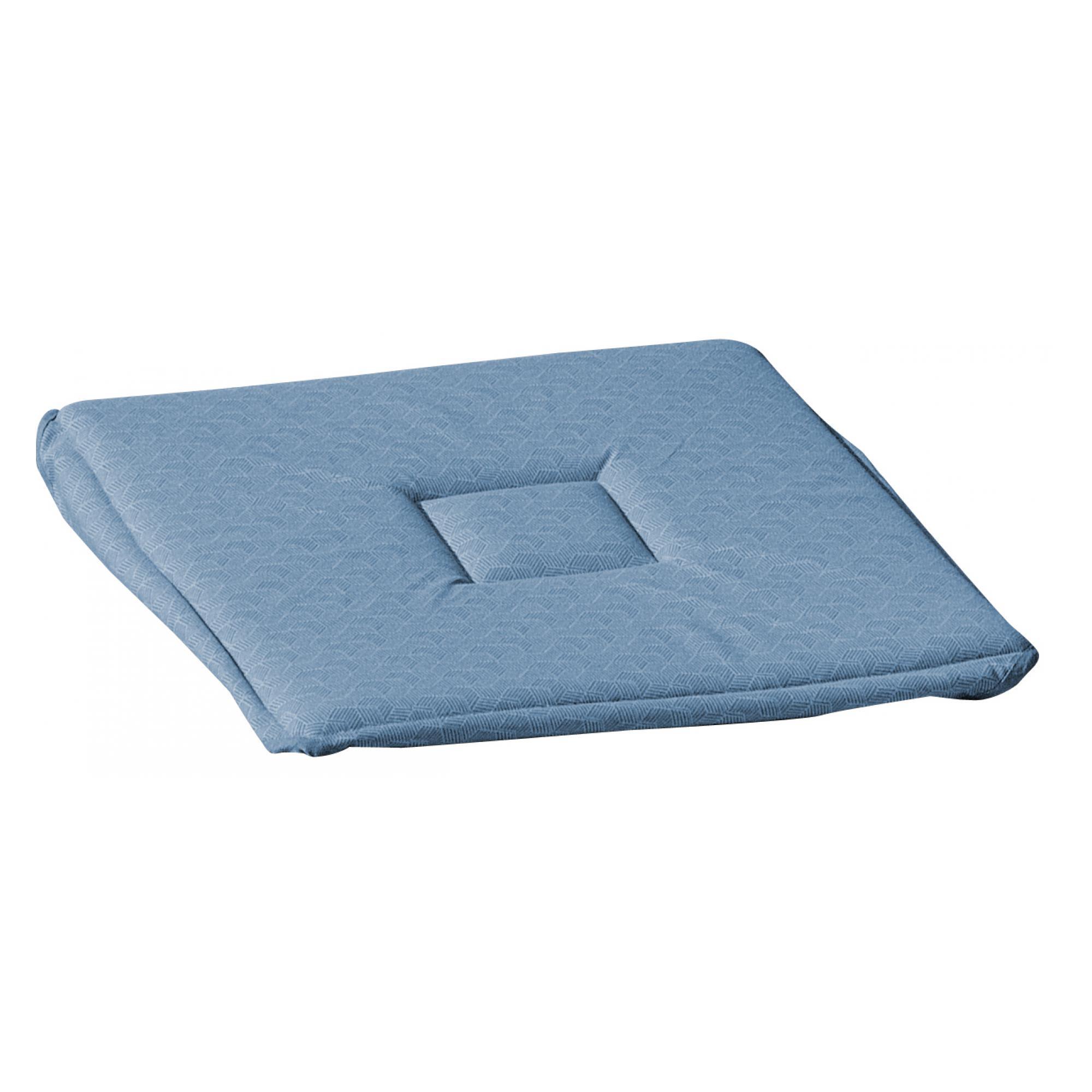 Galette à rabats  en coton bleu denim 38 x 38 x 2