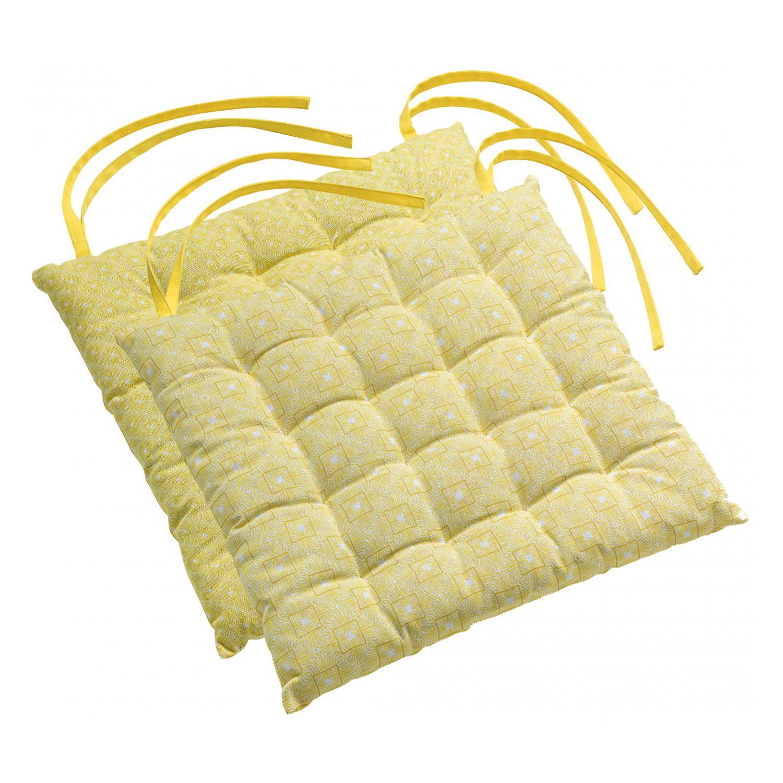 Galette de chaise Berbère en coton jaune 38 x 38 x 3