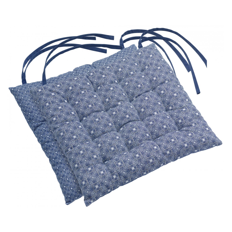 Galette de chaise Berbère en coton bleu 38 x 38 x 3