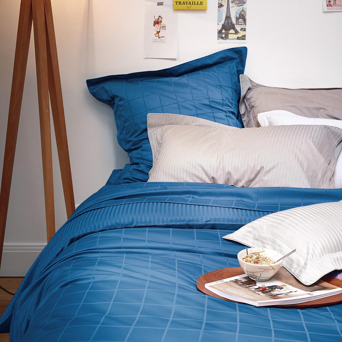 Drap housse satin Bleu 140 x 200 cm