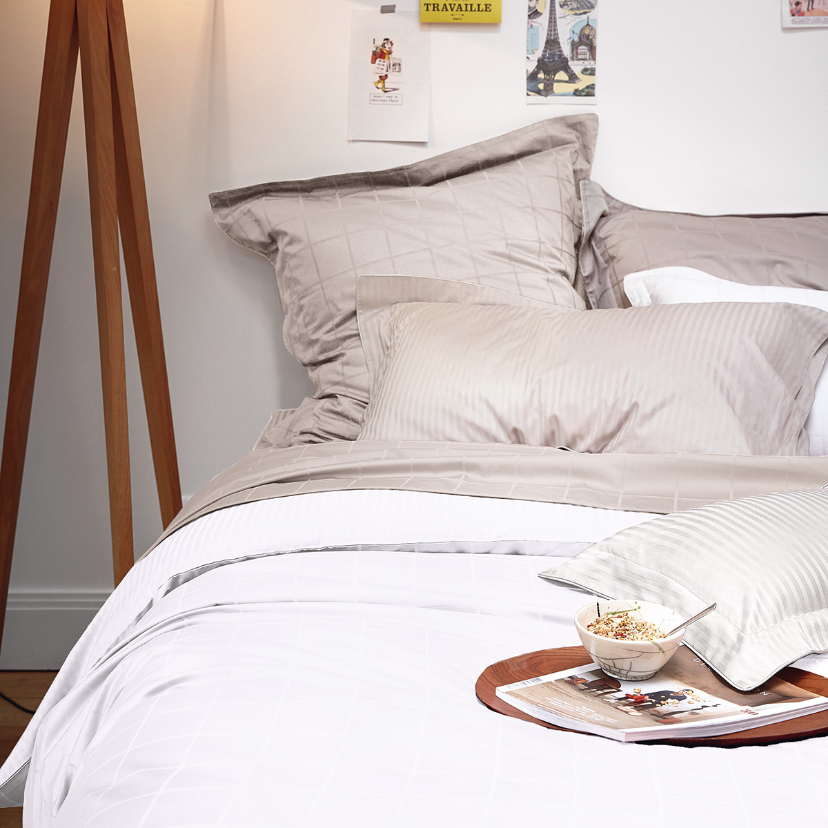 Drap housse satin Blanc 160 x 200 cm