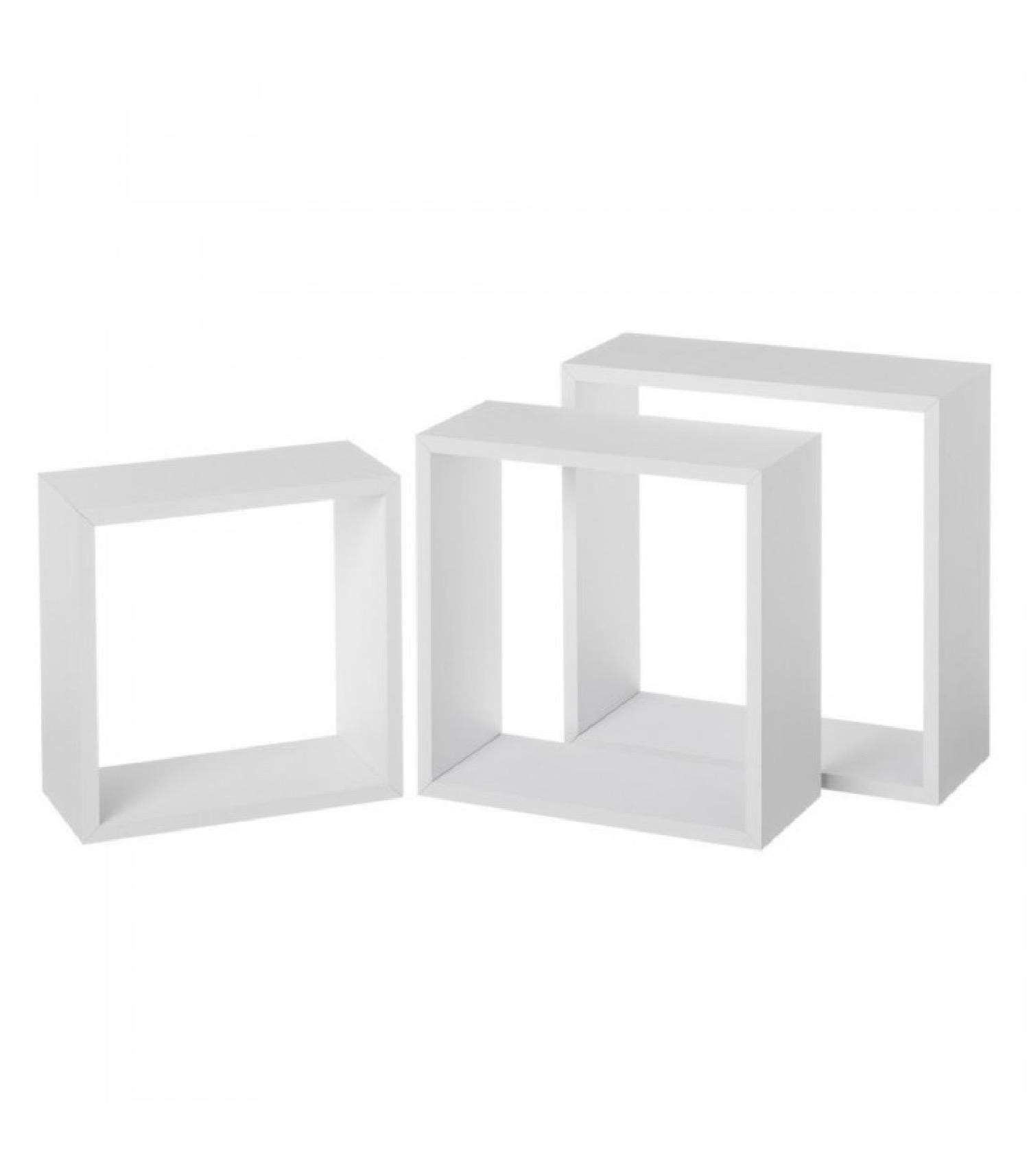 Set de 3 étagères murales en bois MDF blanc 30x30x12