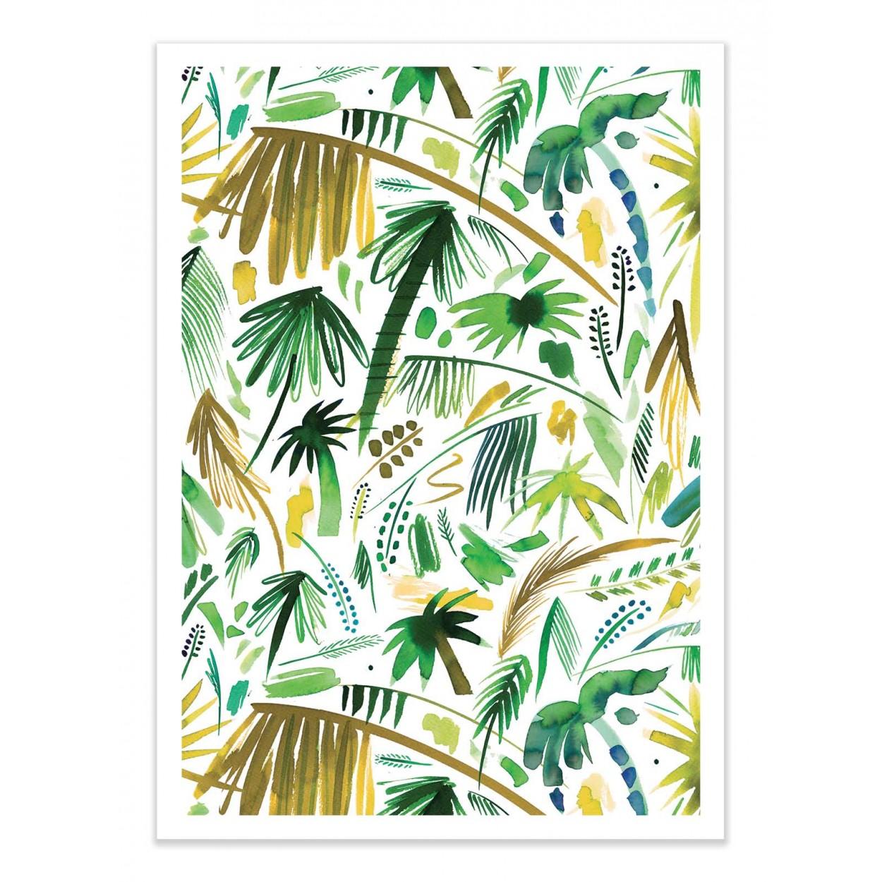 BRUSHSTROKES PALMS GREEN -   Affiche d'art 50 x 70 cm