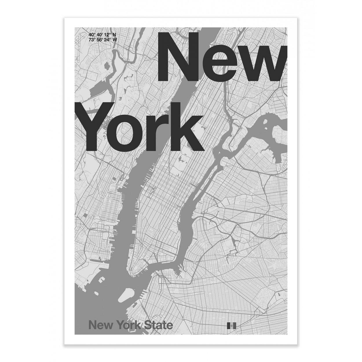 NEW-YORK MINIMALIST MAP -  Affiche d'art 50 x 70 cm
