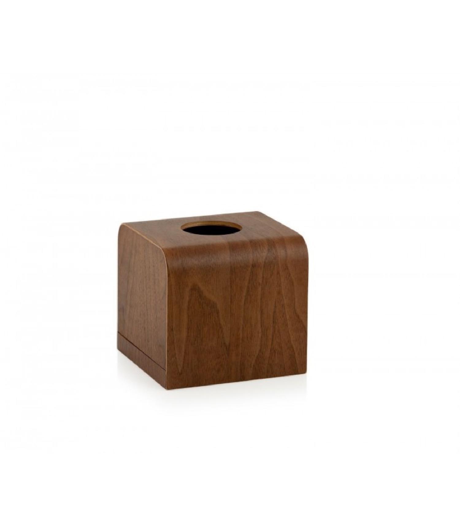Boîte à mouchoirs carrée en bois de noyer