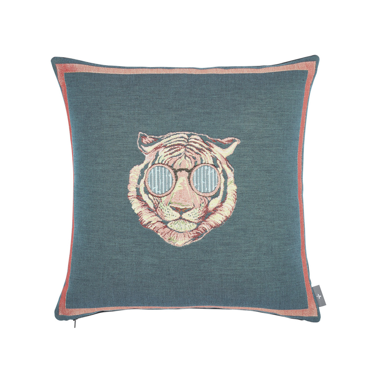 Coussin tapisserie tigre à lunettes made in france bleu   50x50