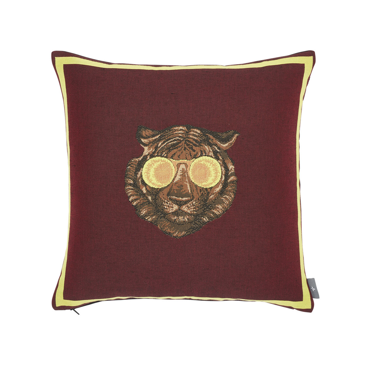 Coussin tapisserie tigre à lunettes made in france rouge   50x50