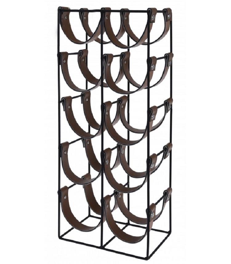 Porte bouteilles métal noir et similicuir marron 10 bouteilles H60cm