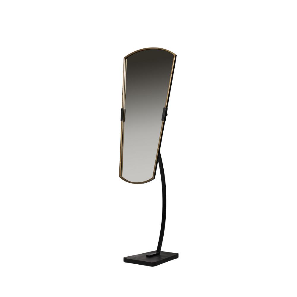 Miroir en métal laiton  et  noir