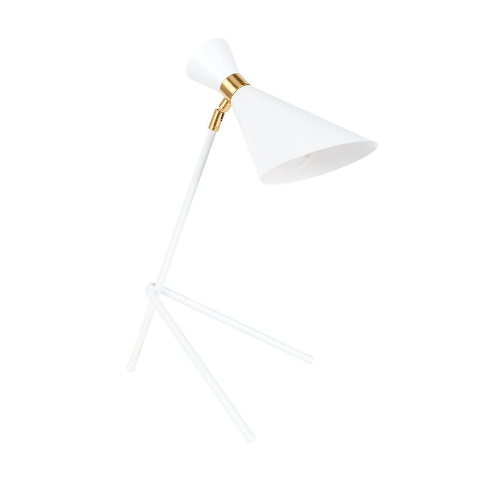 Lampe à poser design en métal blanc