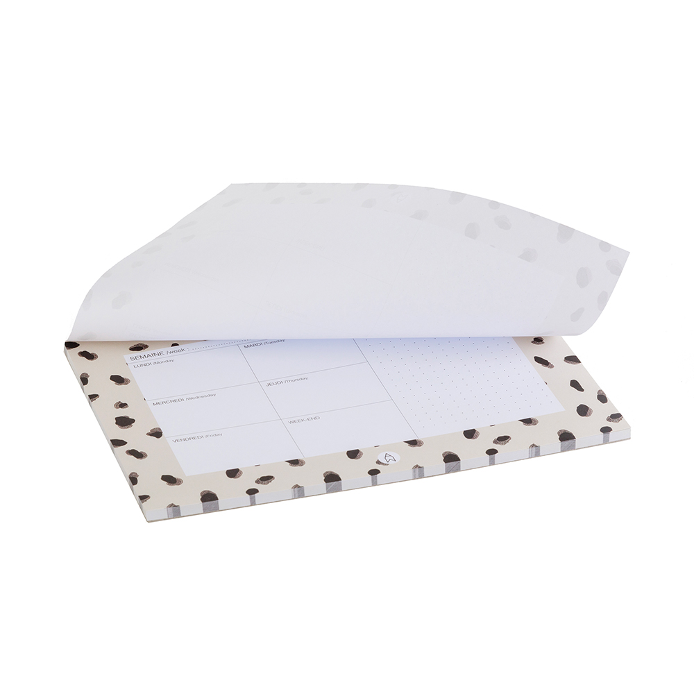 MINERAUX - Semainier imprimé moucheté noir et blanc