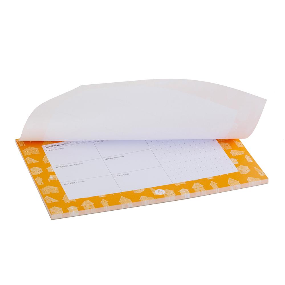 CABANES - Semainier imprimé maisons orange
