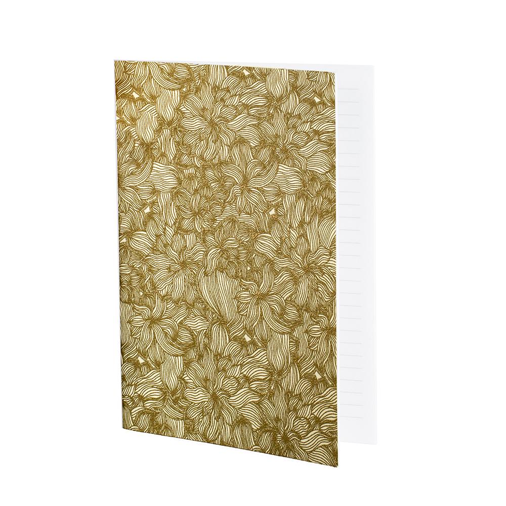 FLOWERS - Cahier ligné imprimé floral doré