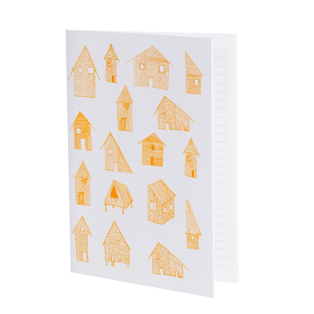 CABANES - Cahier ligné imprimé maisons orange