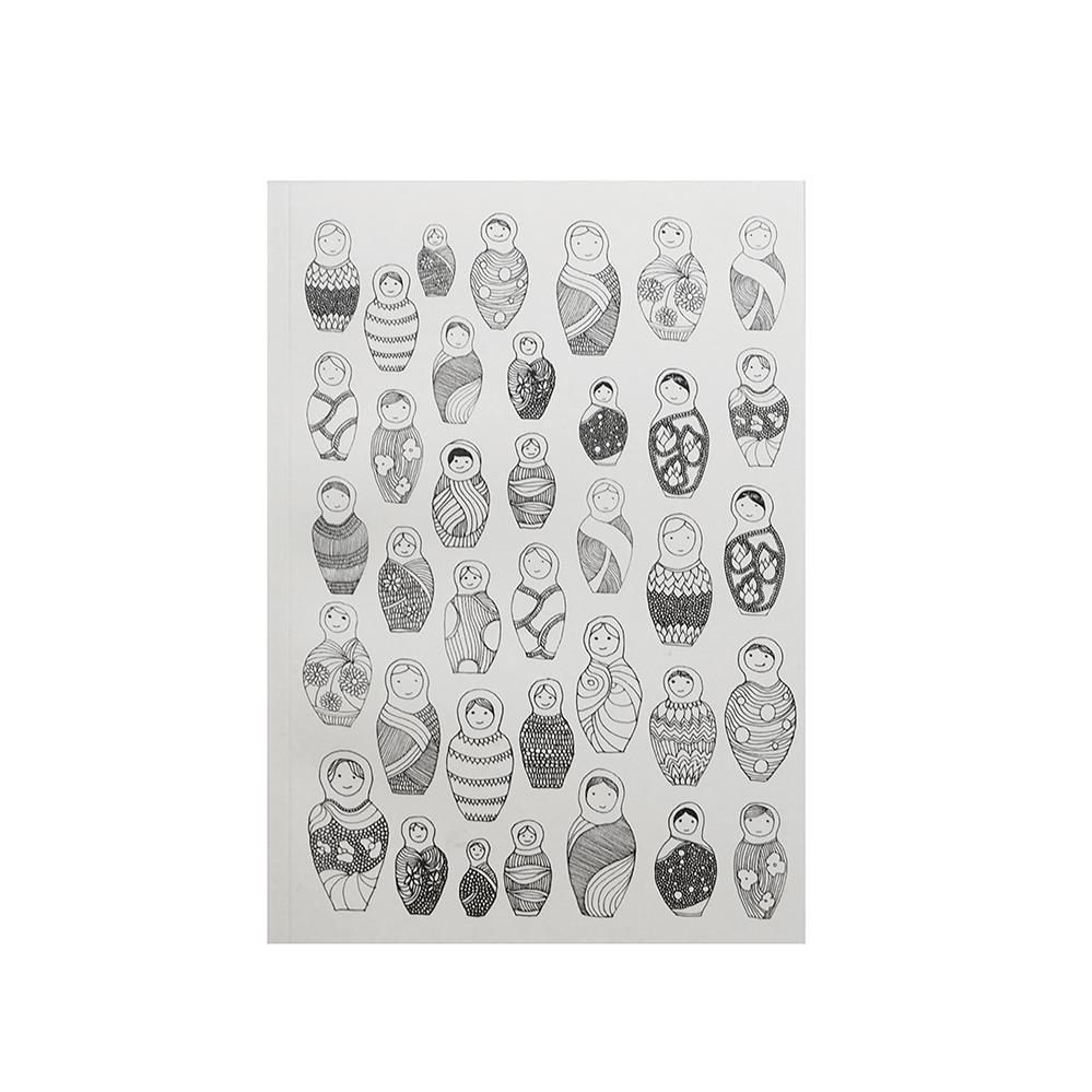 MATRIOCHKAS - Carnet à dessin rose imprimé poupées russes