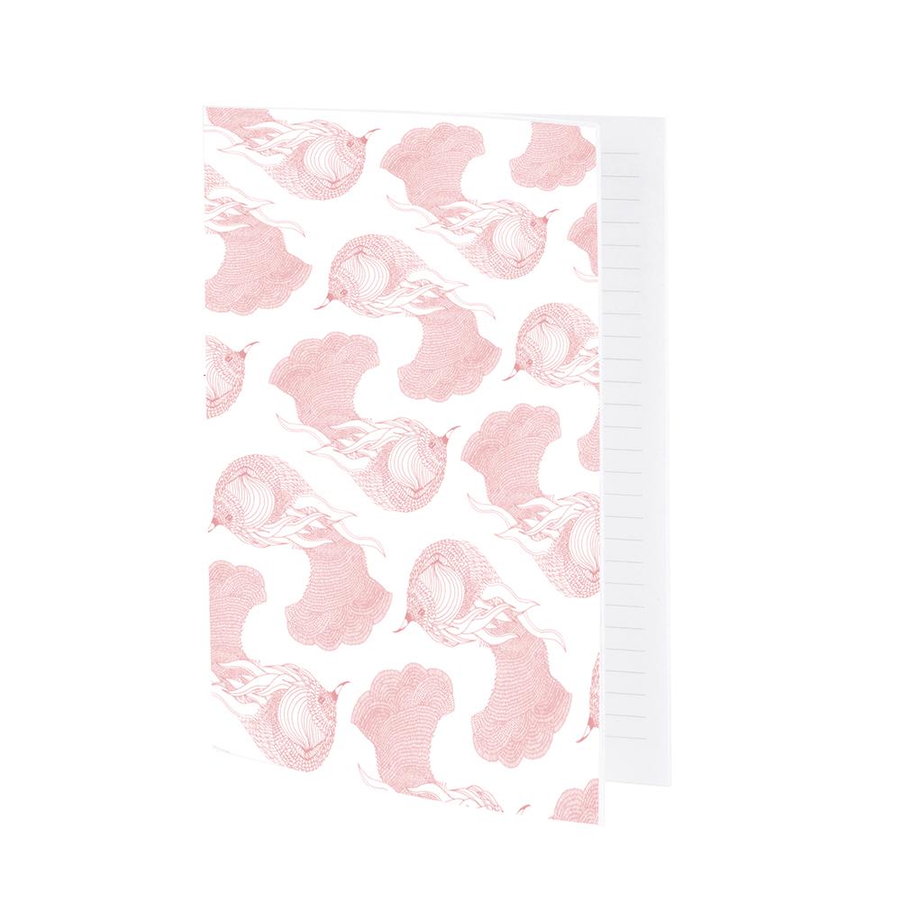 OISEAU DE PARADIS - Cahier ligné rose imprimé animal