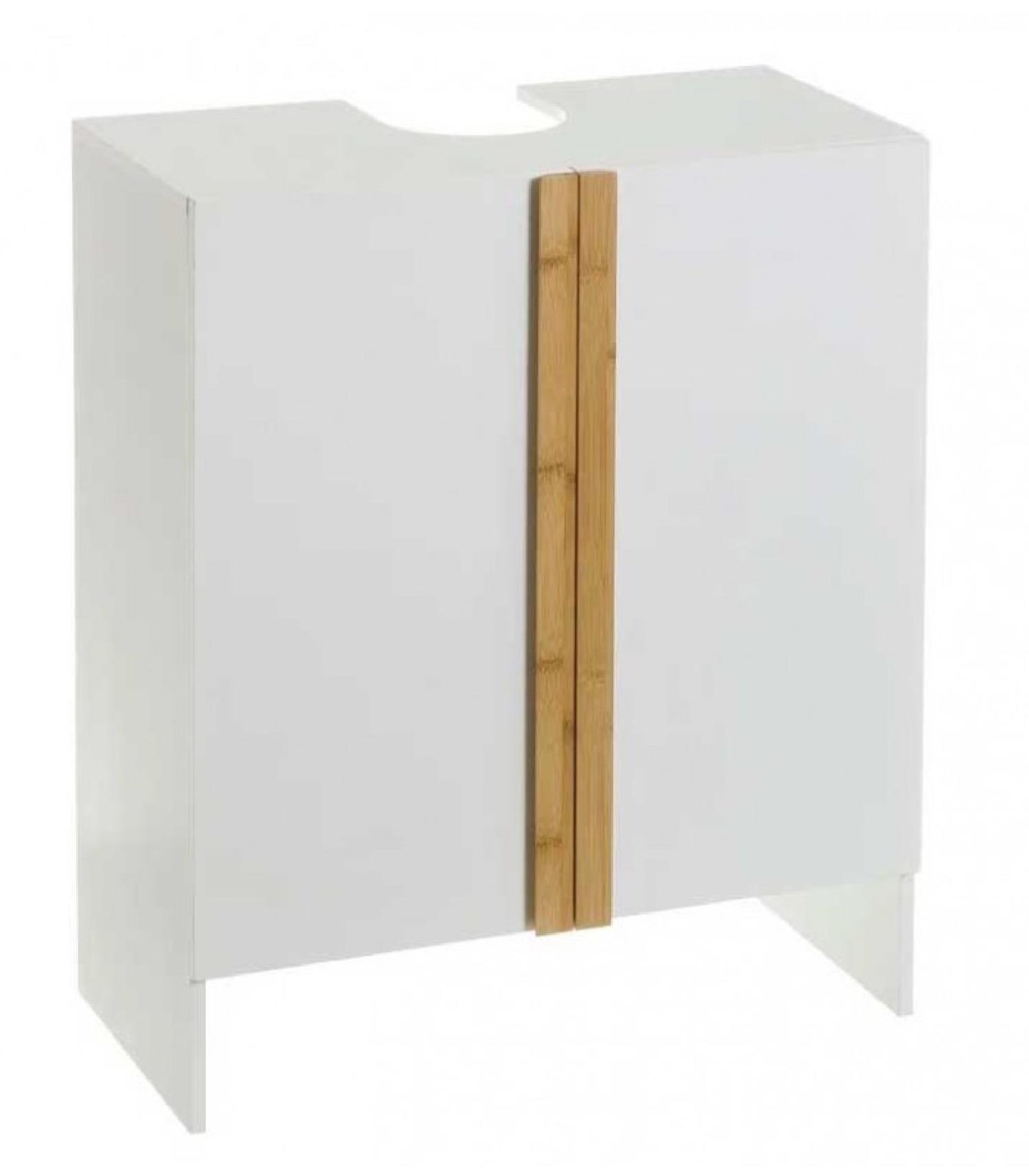 Meuble salle de bain sous lavabo/vasque en bois blanc