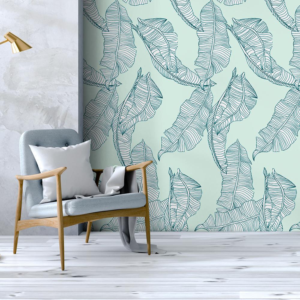 BANANIER - Papier peint vert d'eau imprimé nature