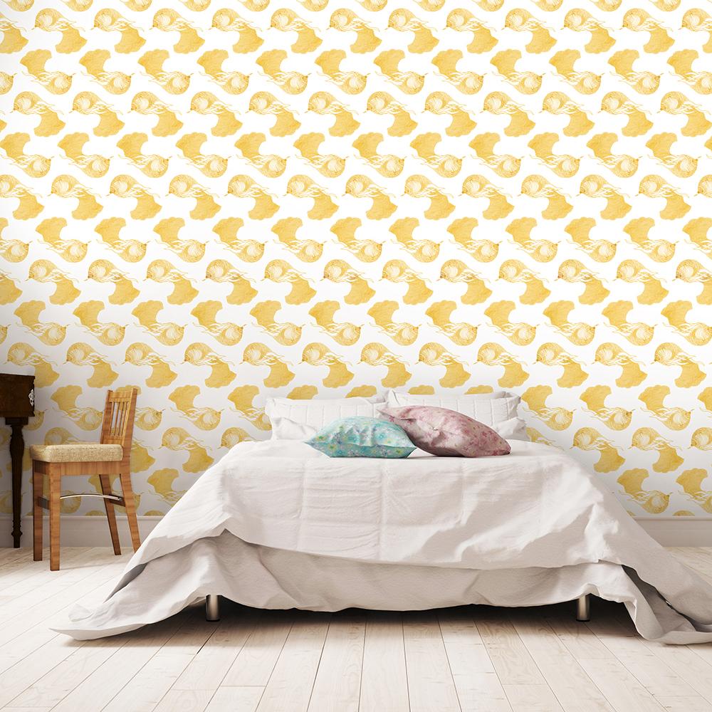 OISEAU DE PARADIS - Papier peint jaune moutarde imprimé animal