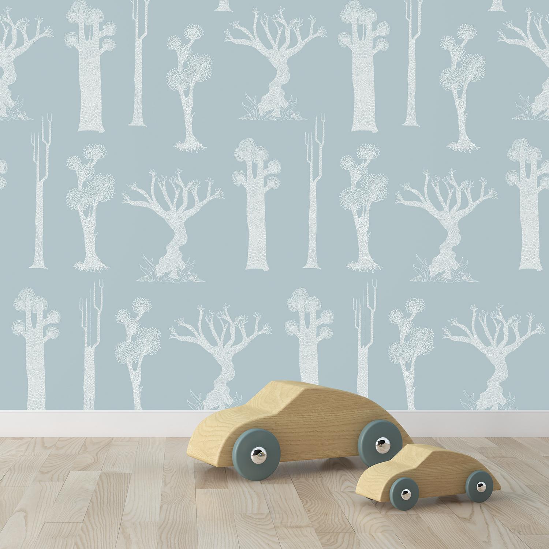 FORET - Papier peint bleu gris imprimé nature