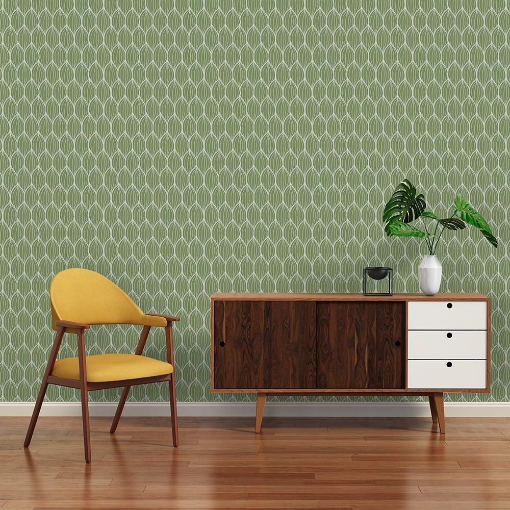 AMANDES - Papier peint vert olive imprimé graphique