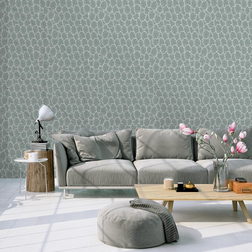 BOUQUET - Papier peint gris imprimé floral