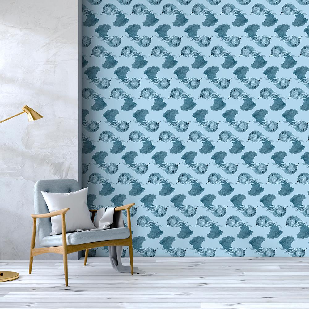 OISEAU DE PARADIS - Papier peint bleu imprimé animal