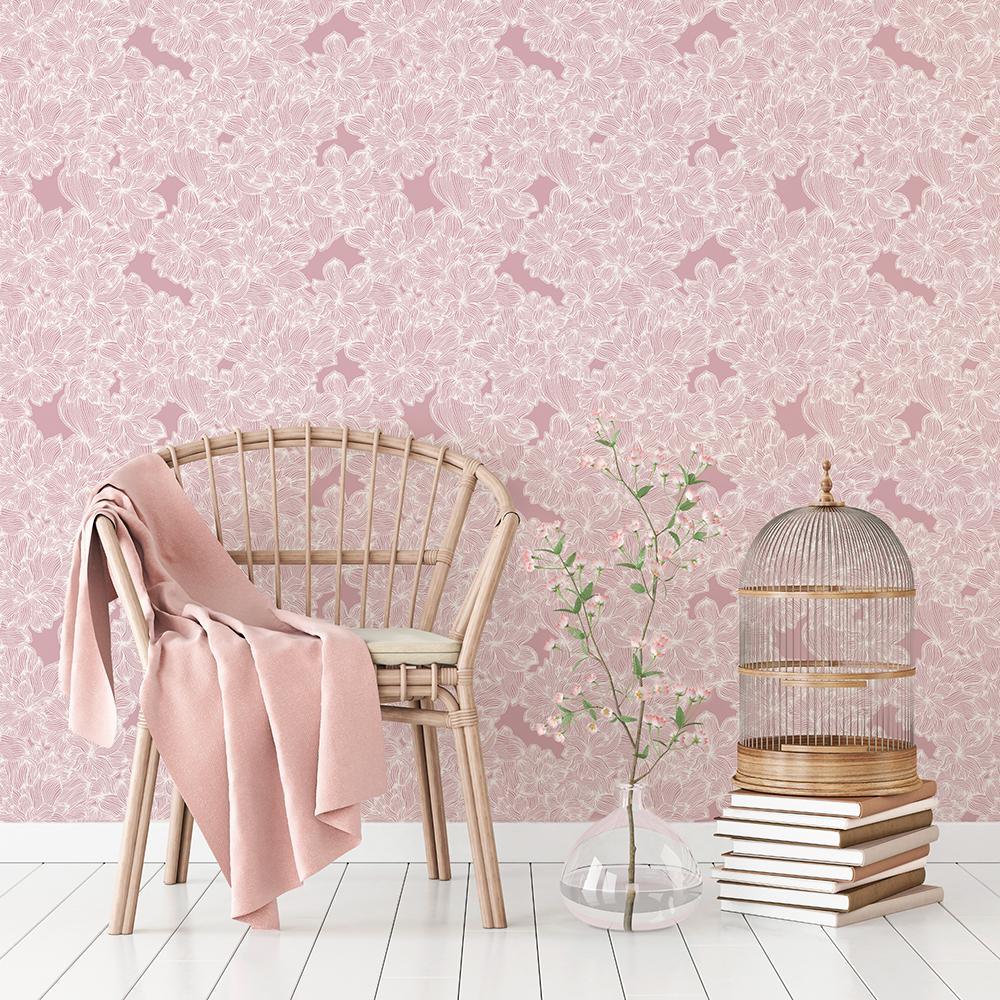 FLOWERS - Papier peint vieux rose imrprimé fleuri